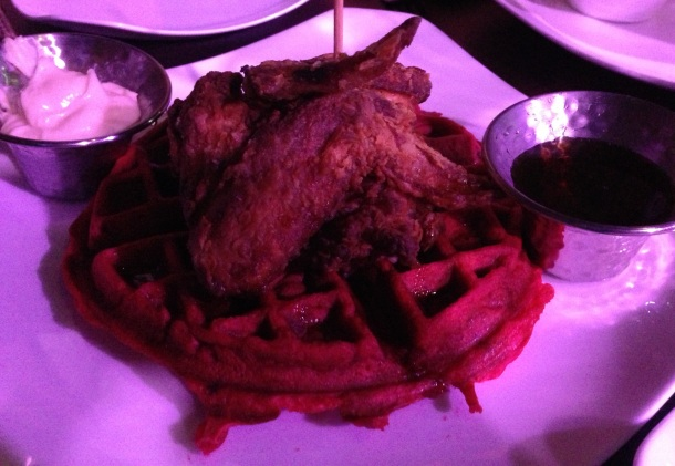 Chicken & Red Velvet Waffles Photo by Alexa
