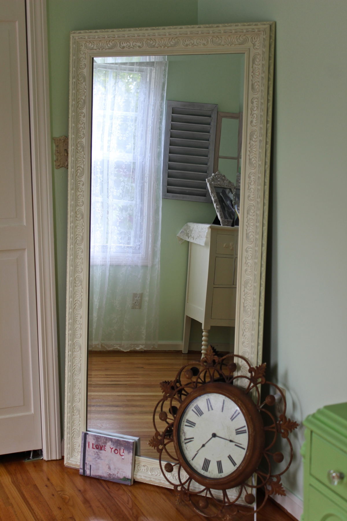 A leaning mirror is perfect for my look, and a full-length mirror is a must in any bedroom. Photo by Alexa
