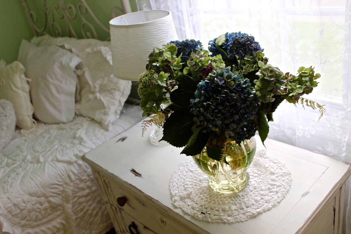 Always helps to have a dad who's an awesome gardener.  Love to have freshly picked hydrangea in this vase. Photo by Alexa