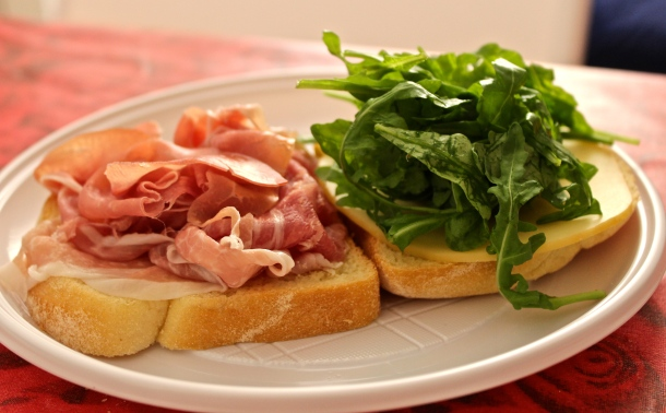 My mouthwateringly delectable sandwich: Prosciutto, Cheese, Arugula and Fresh Bread Firenze, Italia Photo by Alexa