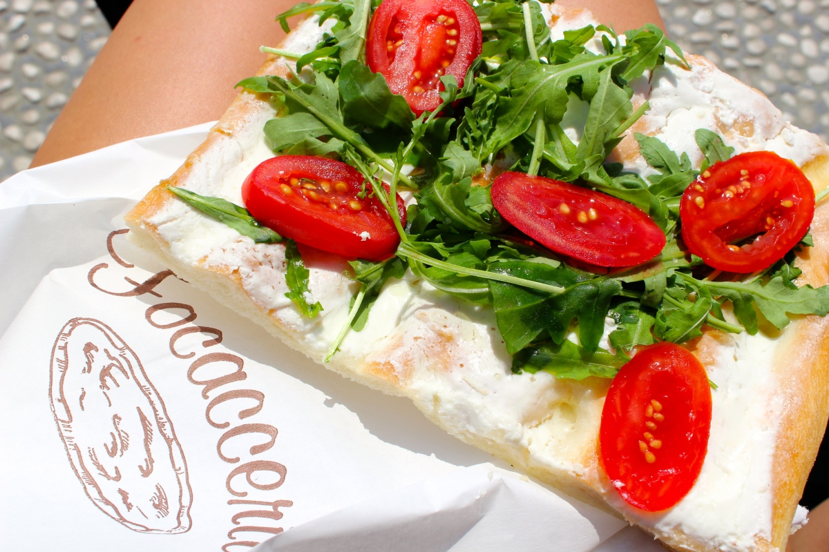 My delicious tomato, arugula and cream cheese focaccia lunch  Cinque Terre, Italia Photo by Alexa