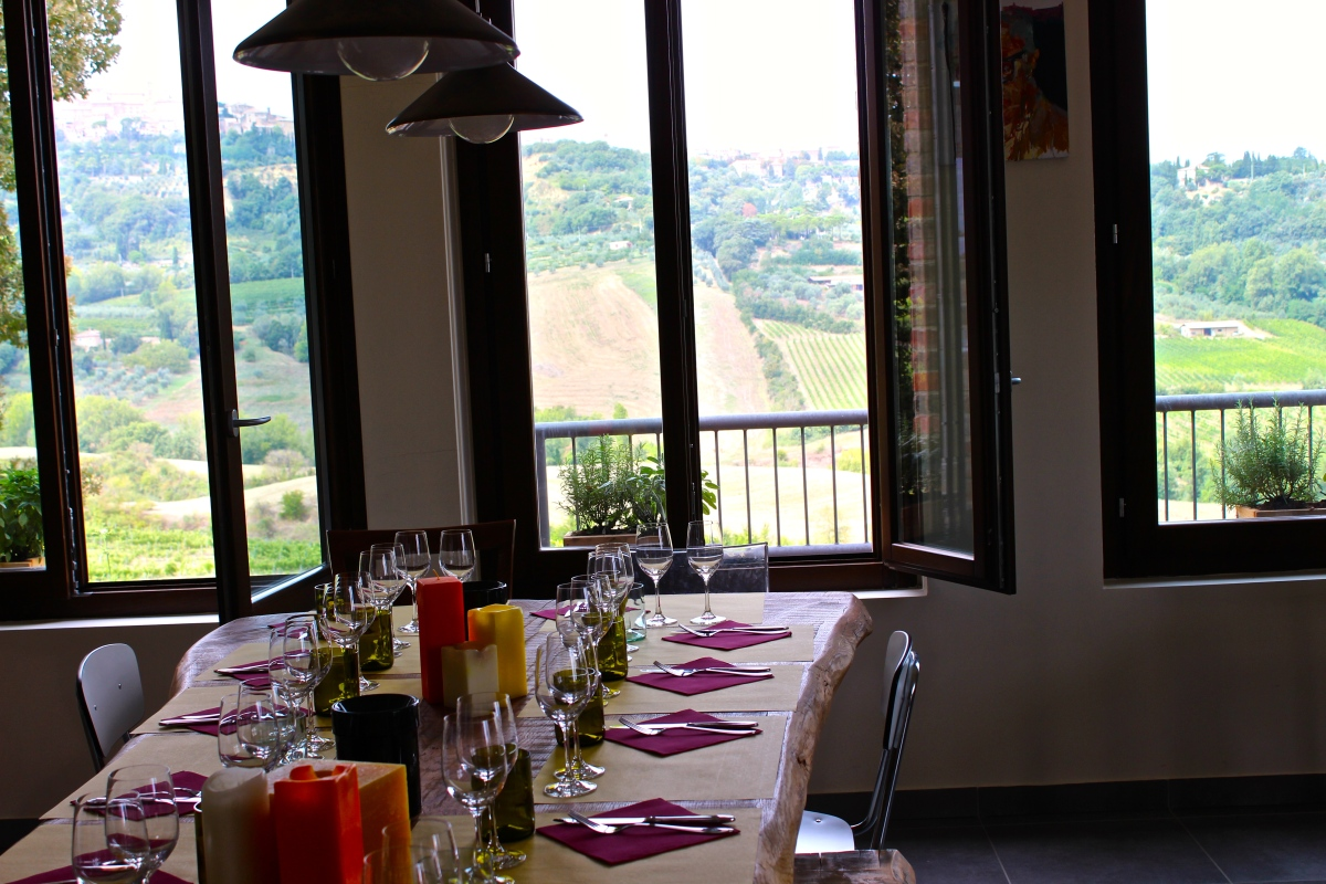 Enjoying lunch and wine tasting with a view at Salcheto Winery - Montepulciano, Emilia-Romagna, Italy Photo by Alexa
