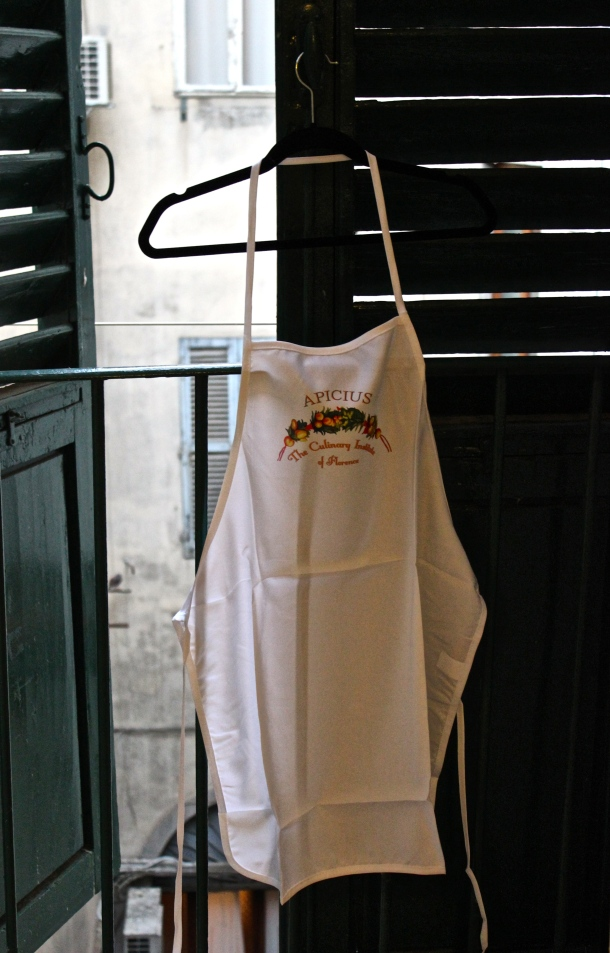 My apron for my Italian cooking class at Apicius International School of Hospitality Firenze, Italia Photo by Alexa