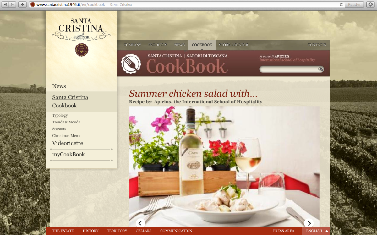 My Introduction for the Summer Chicken Salad recipe, featured on the homepage of Santa Cristina Cookbook