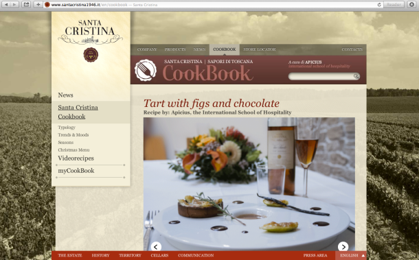 "The ""Tart with figs and chocolate"" recipe featured on Santa Cristina Cookbook's homepage"