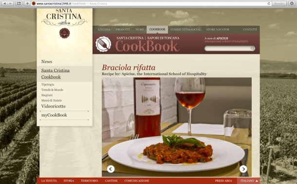 Braciola rifatta (beef recooked) recipe on the Santa Cristina Cookbook homepage